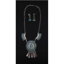 Zuni Petite Point Turquoise Necklace and Earrings