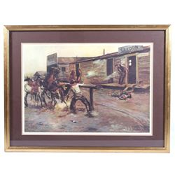 """Charlie Russell """"Death Of A Gambler"""" Framed Print"""