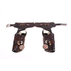 Hubley Cowboy Cap Guns & Leather Holster Belt