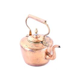 Late 1800s Gooseneck Copper Dovetail Kettle