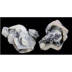 Dendritic Soapstone Signed Animal Sculptures