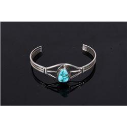 Signed Navajo Sterling & Turquoise Bracelet