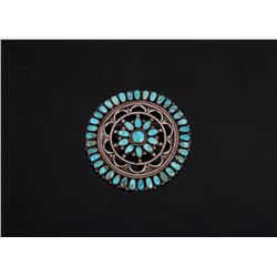 Signed Navajo Sterling & Turquoise Brooch