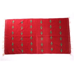 Red Wool Blanket W/ Green Hummingbird Motif
