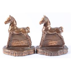 Early 20th Century Copper horse bookends