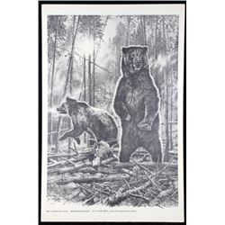 Bill O'Neill Morning Mist Grizzlies Print c. 1977