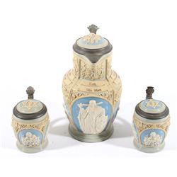 Villeroy & Boch Mettlach Pottery Steins & Pitcher