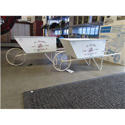 LOT OF 2 NEW EVENGARDEN RUSTIC WHITE WHEELBARROWS