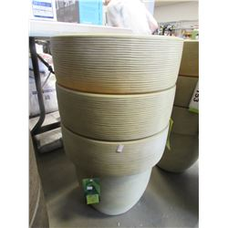 "3 NEW TRAVERTINE 16"" TOLEDO GROSFILLEX LIGHT WEIGHT PLANTERS"