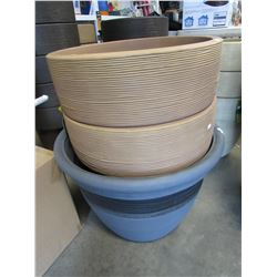"2 NEW CARAMEL 20"" TOLEDO PLANTERS & LARGE GREY PLANTER"