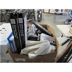 BOX OF ASSORTED HOUSEHOLD ITEMS (TOASTER, INFINITI PRO 3Q STYLING TOOL, CURTAIN PANELS, TOWEL BARS,