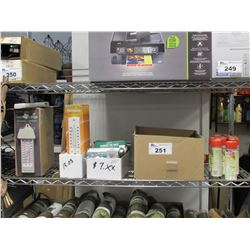 SHELF LOT OF NEW WELO HOLDINGS MAXIMA THERMOMETERS, EZREAD THERMOMETERS, KONK FUMIGANT, GARDEN