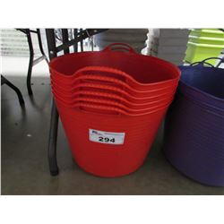 6 NEW RED TUBTRUGS FLEXIBLE TUBS