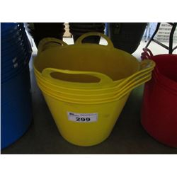 5 NEW YELLOW GARANT MULTI PURPOSE 26L BINS