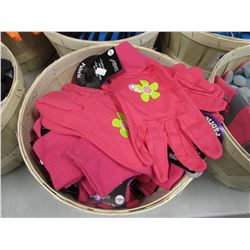 BASKET OF NEW LADIES MIDWEST COMFORTABLE CANVAS FABRIC GLOVES