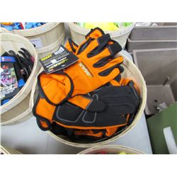 BASKET OF NEW MIDWEST MAX PERFORMANCE SYNTHETIC LEATHER WITH ADDED PALM GLOVES