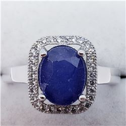 SILVER LADIES SAPPHIRE CZ RING