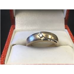 STAMPED 10K GOLD & SILVER DIAMOND  RING (AUTHENTICITY UNKNOWN - RCMP RECOVERED)