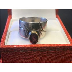 STAMPED .925 STERLING RED STONE RING (AUTHENTICITY UNKNOWN - RCMP RECOVERED