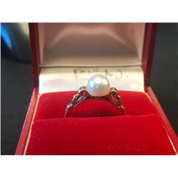 "STAMPED 14K GOLD ""BIRKS"" PEARL RING (AUTHENTICITY UNKNOWN - RCMP RECOVERED)"