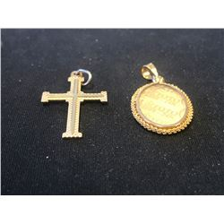 STAMPED 10K CROSS & STAMPED 18K SILHOUETTE PENDANT (AUTHENTICITY UNKNOWN - RCMP RECOVERED)