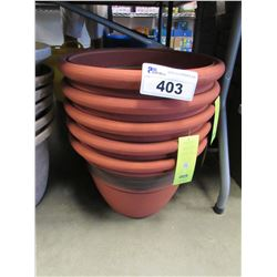 "5 NEW GROSFILLEX LIGHT WEIGHT CORDOBA 16"" RED CLAY PLANTERS"