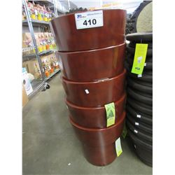 "5 NEW GROSFILLEX LIGHT WEIGHT SOLTA 15"" RED PLANTERS"