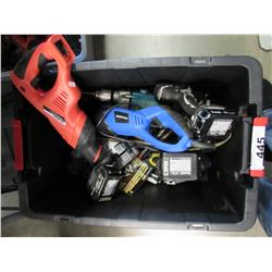 BOX OF ASSORTED HANDHELD & POWER TOOLS (RECIPROCATING SAWS, MAKITA IMPACT GUN, MAKITA DRILLS, ETC)
