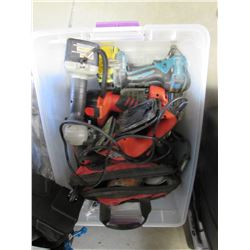 TOTE OF ASSORTED POWER TOOLS (CORDLESS DRILLS, IMPACT GUNS, SANDER, ETC)
