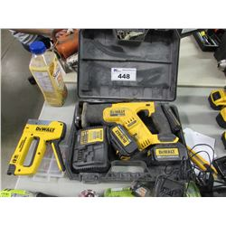 DEWALT STAPLER, DEWALT RECIPROCATING SAW, BATTERIES & CHARGER