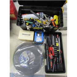STANLEY TOOL BOX & CONTENTS (SMALL HAND TOOLS, CUTTING WHEELS, TEKTON LETTER AND NUMBER SET, ETC