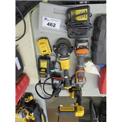 DEWALT ADJUSTABLE WORKLIGHT, DEWALT GRINDER, RIDGID GRINDER, DEWALT BATTERIES & CHARGER