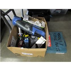 BOX OF ASSORTED HOUSEHOLD ITEMS (SHARK CORDLESS HAND VAC, LIGHT BULBS, ROPE, TRAVEL MUG, EXTERNAL