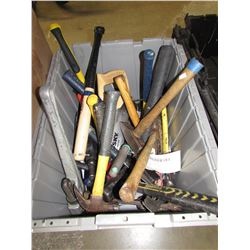 TOTE OF ASSORTED HAND TOOLS (HAMMERS, SAWS, ETC)