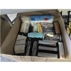 BOX OF ASSORTED LINEN (BED SKIRTS, CURTAIN PANELS, ETC)