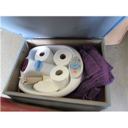 FOOT STOOL & CONTENTS (FOOT SPA, TOILET PAPER, ETC)