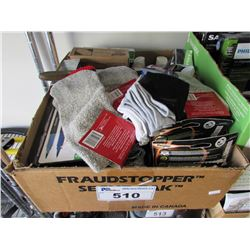 BOX OF SOAP, SOCKS, TOOTH PASTE, ENERGIZER HEAD LAMPS, MAKE UP, ETC