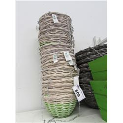 STACK OF NEW RATTAN HANGING BASKETS