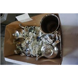 LOT OF SILVER PLATE TEA POTS, AND CREAM AND SUGAR