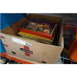 BOX OF RECORDS, TAPES AND CARDS