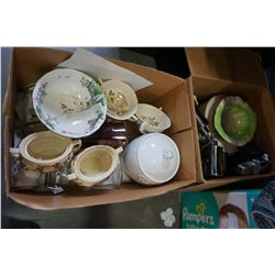 2 BOXES OF CHINA AND GLASS CANNISTERS
