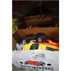 3 BOXES OF DIE CAST CARS, TRANSFORMERS, AND TOYS