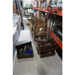 LOT OF JEWELLERY, JEWELLERY BOX, AND NECKLACE TREES