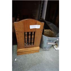 WOOD WINE RACK, GALVANIZED TUB, BRASS PLATTER, AND WOOD FIRE BOX