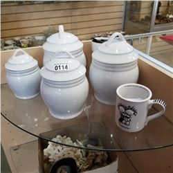 LOT OF LIDDED CANNISTERS