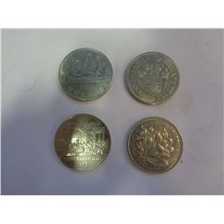 4 CANADA SILVER DOLLARS COMMEMORATIVE COINS