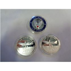 3 AIR FORCE COMMEMORATIVE COINS