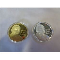 2 POPE JOHN II GOLD AND SILVER PLATED COINS