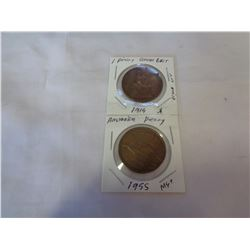 GREAT BRITAIN PENNY 1914 AND AUSTRALIAN PENNY 1955
