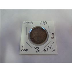 1881 CANADIAN 1 CENT COIN